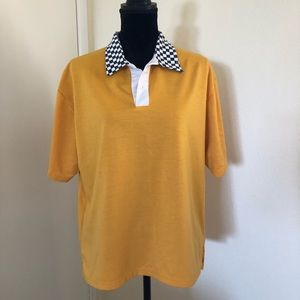 Yellow polo shirt with checkered collar